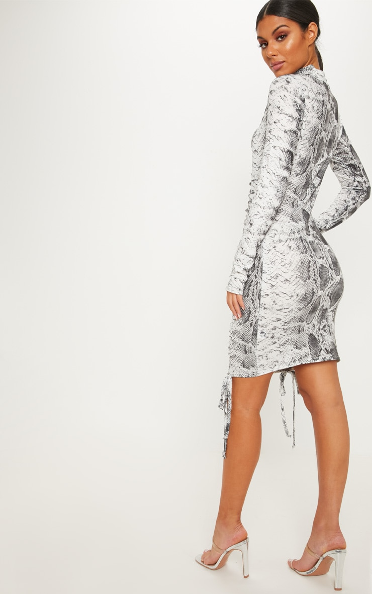Grey Snake Print High Neck Ruched Front Midi Dress 2