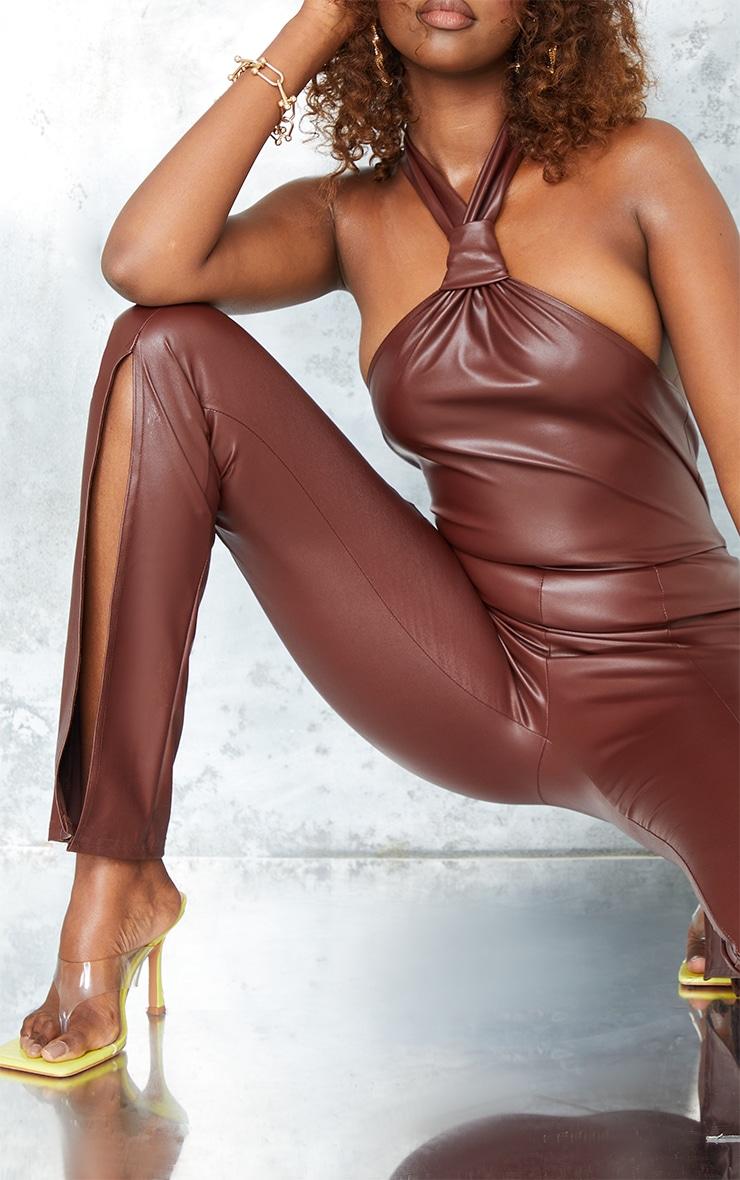 Chocolate Pu Knot Detail Split Hem Jumpsuit 4