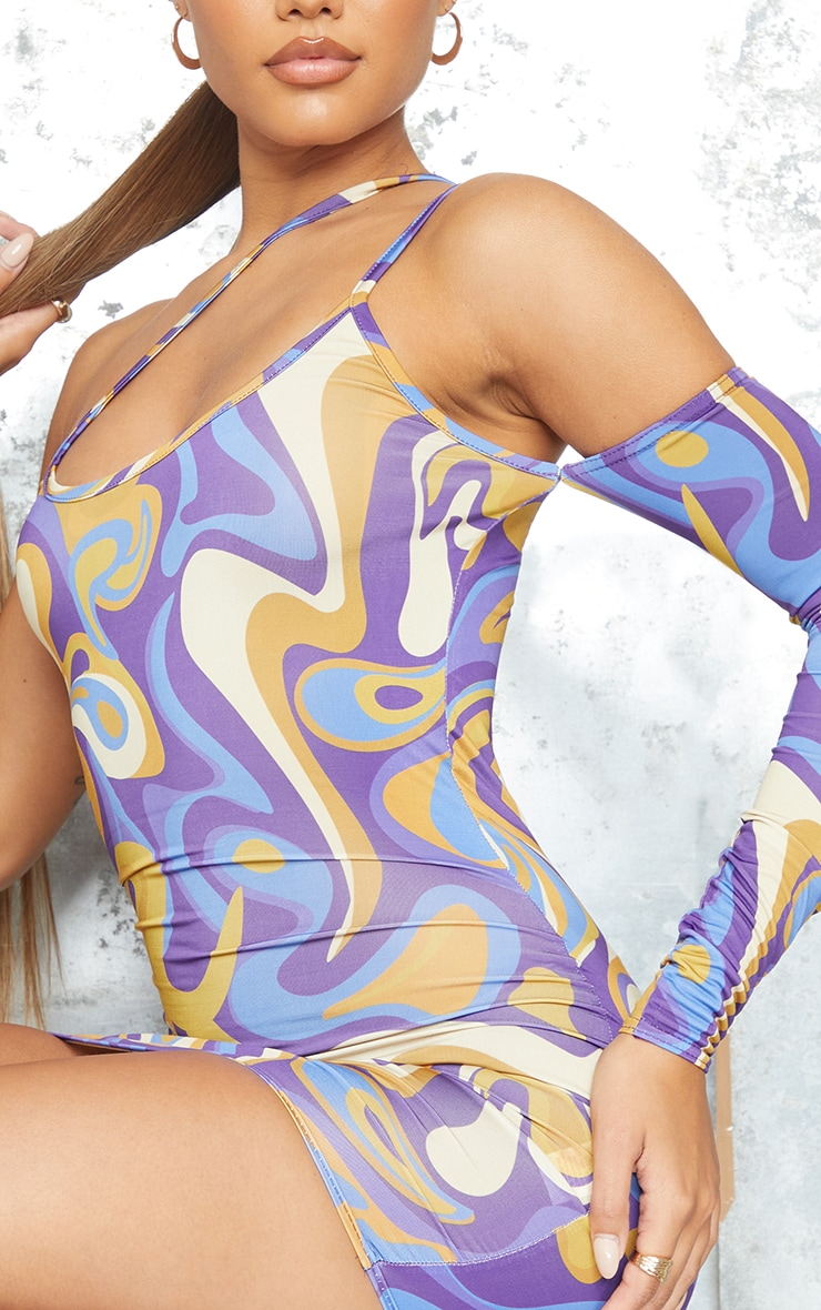 Purple Abstract Print Slinky Strap Detail One Shoulder Bodycon Dress 4