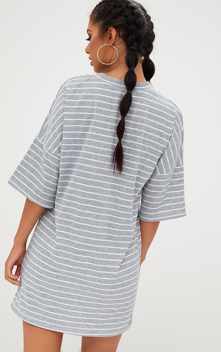 Grey Striped Oversized T Shirt Dress 2
