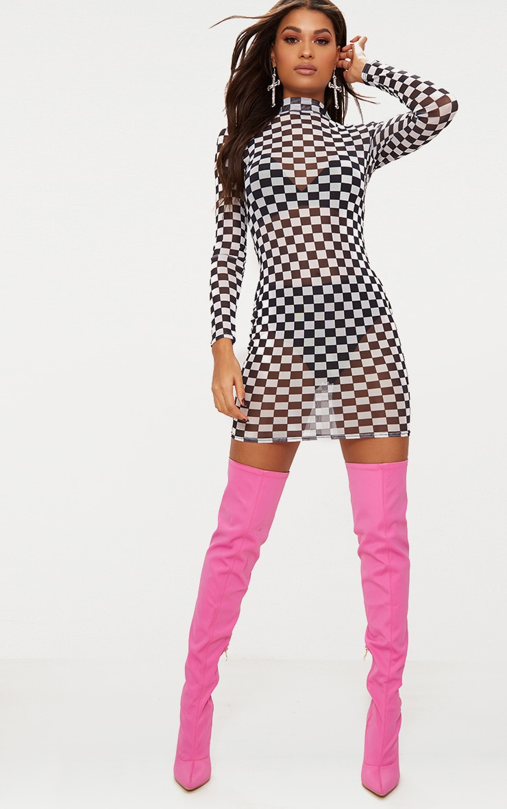 Black Checkerboard Mesh Bodycon Dress 3