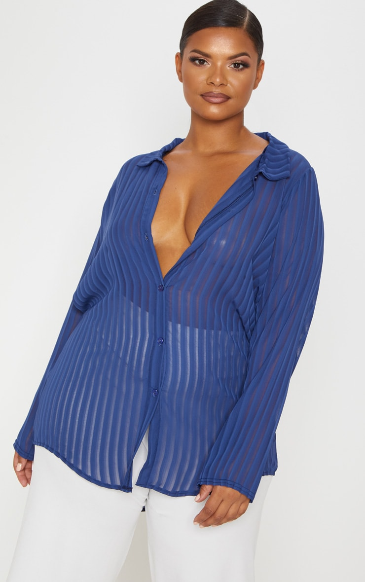 Plus Navy Striped Chiffon Oversized Shirt 4