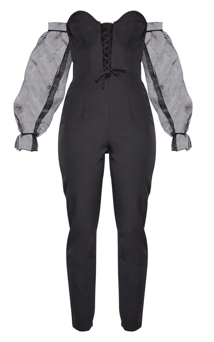 Black Lace Up Organza Puff Sleeve Bardot Jumpsuit 4