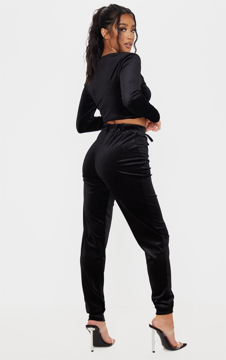 Petite Black Velour Long Sleeve Ruched Crop Top 2