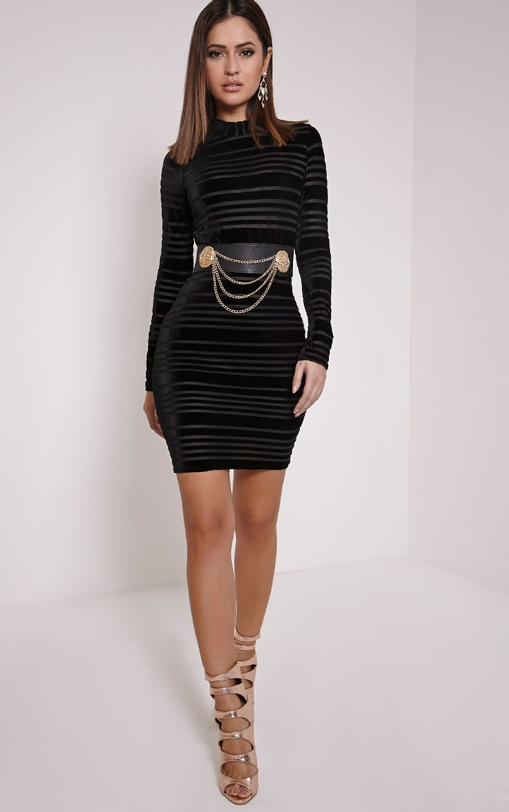 Faye Black Velvet Stripe Bodycon Dress 1