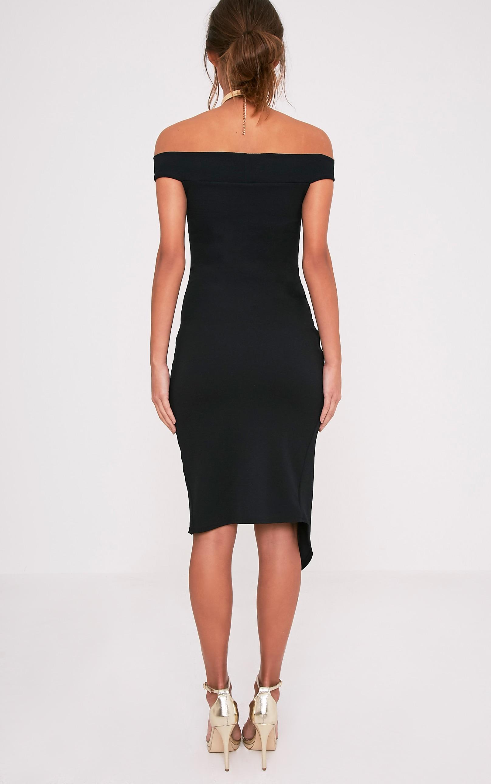 Abbey Black Bardot Wrap Front Crepe Midi Dress 2