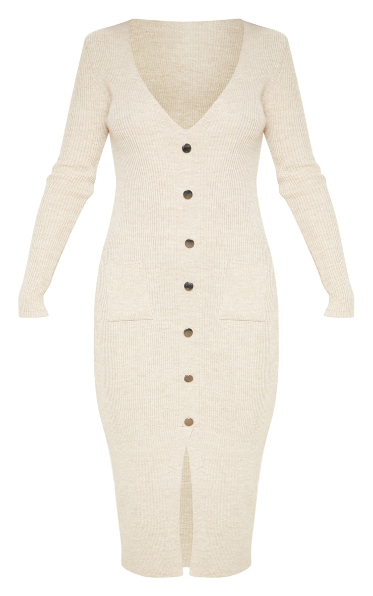 Oatmeal Button Front Knitted Midi Dress 3