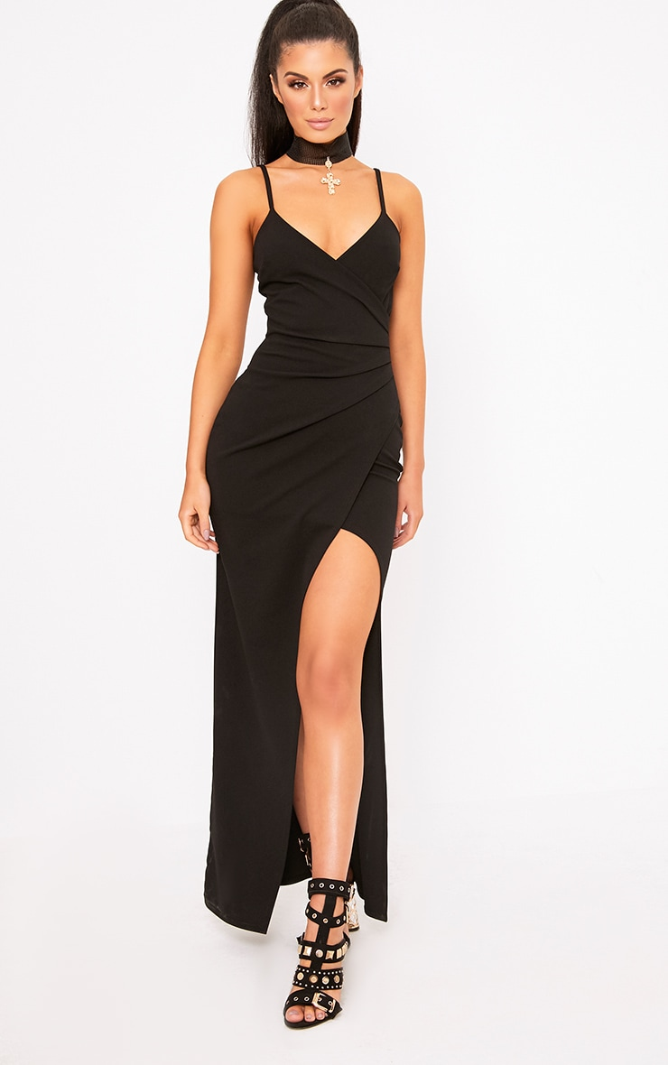 Black Wrap Front Crepe Maxi Dress 1
