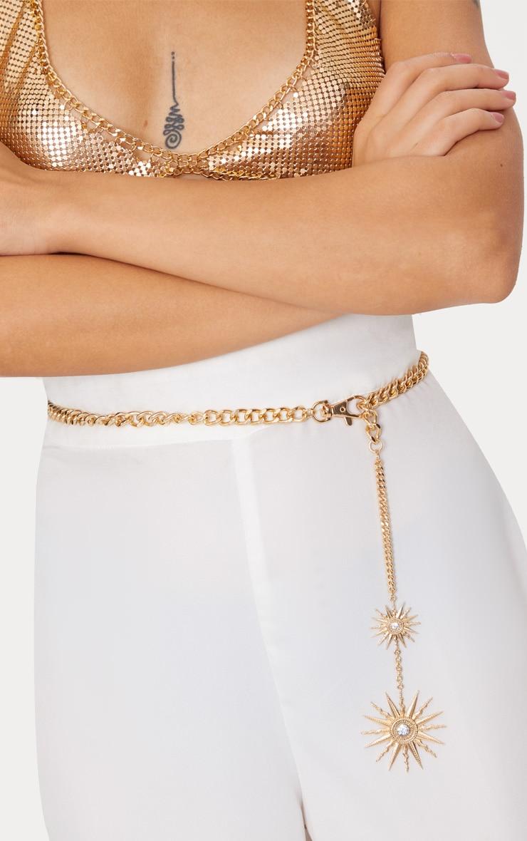 Gold Sundial Chunky Chain Belt 2