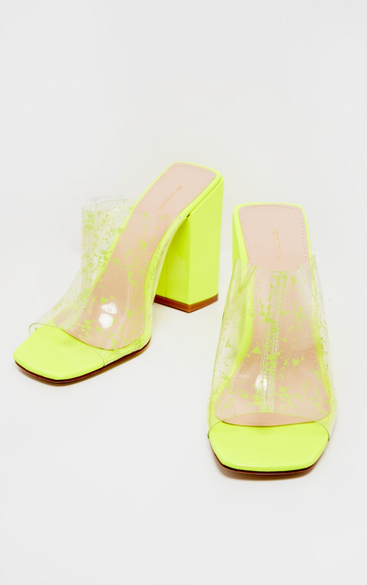 Neon Lime Paint Splash Clear Block Heel Mule 3