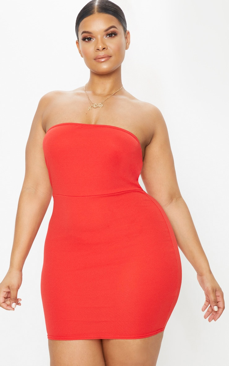 Plus Red Bandeau Bodycon Dress