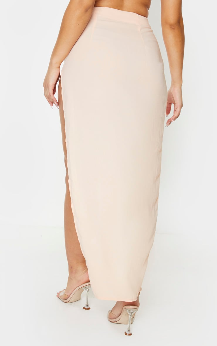 Nude Woven Ruched Side Split Maxi Skirt 3