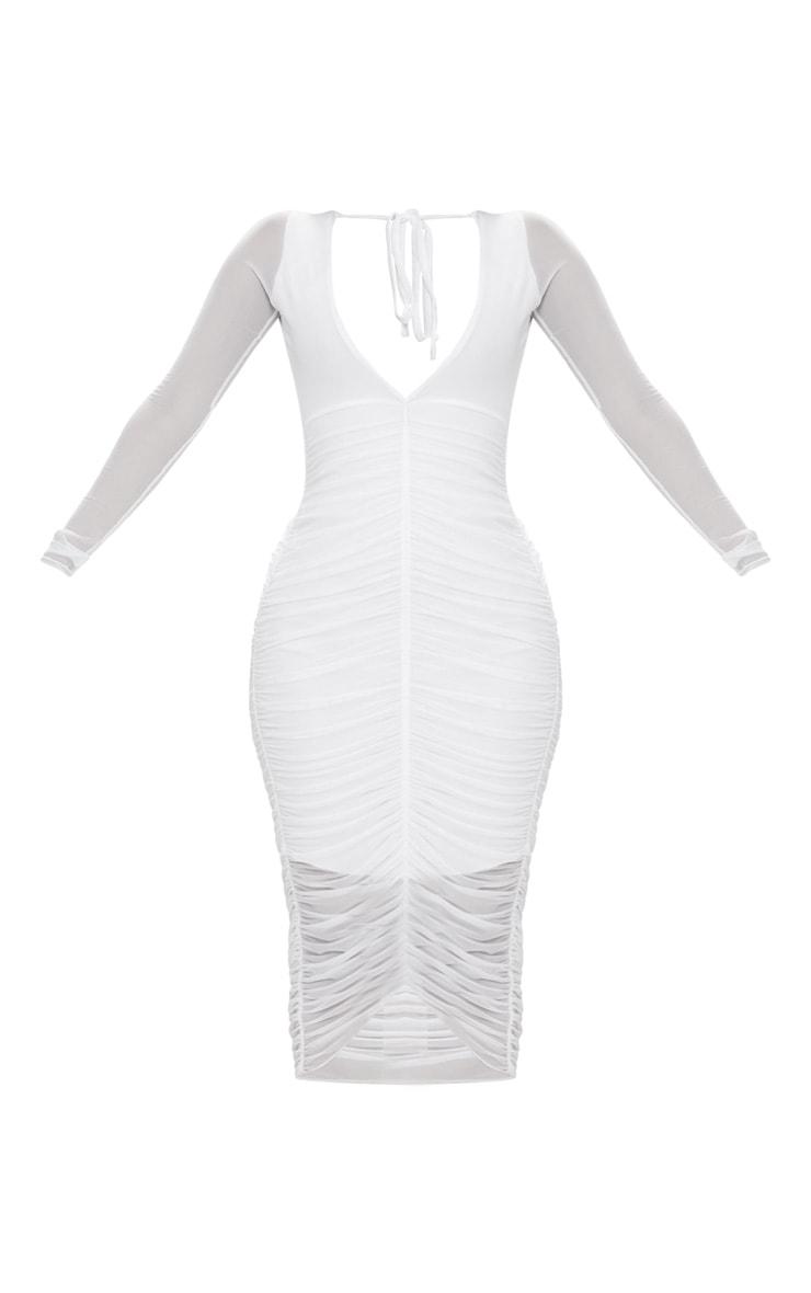 Shape White Ruched Mesh Longline Midi Dress 3