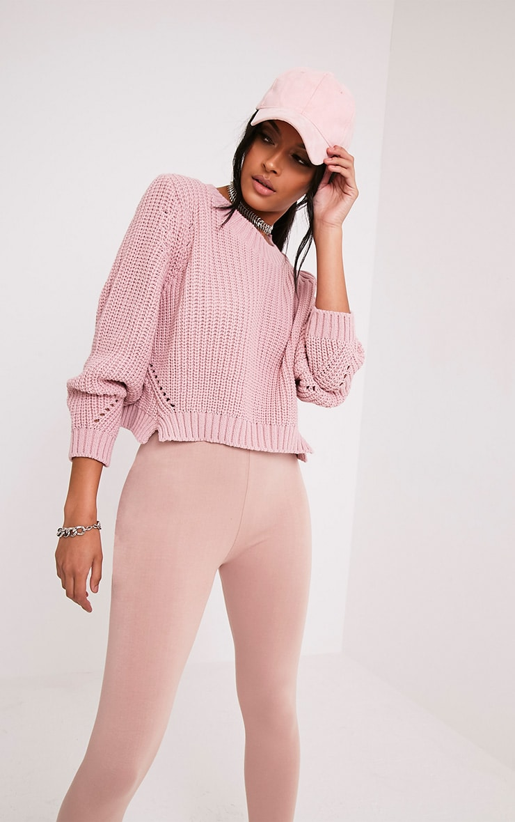Aine Blush Fisherman Knit Cropped Jumper 5