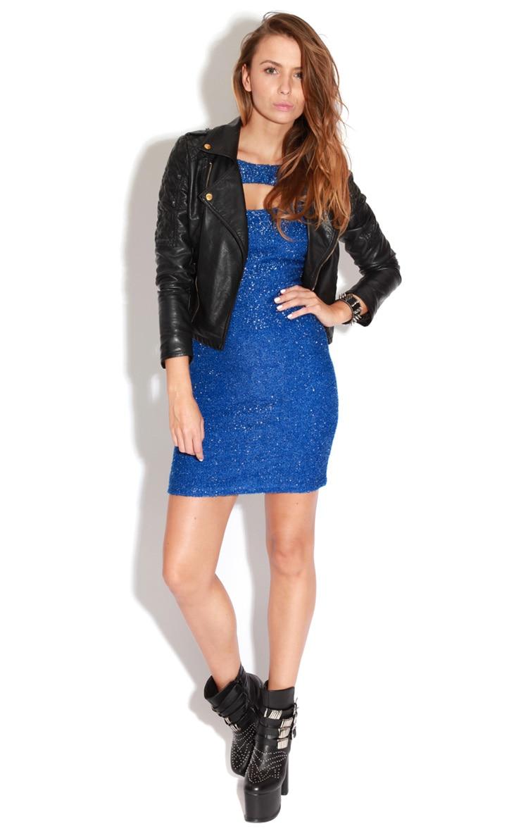 Hannah Blue Textured Glitter Cut Out Dress 5