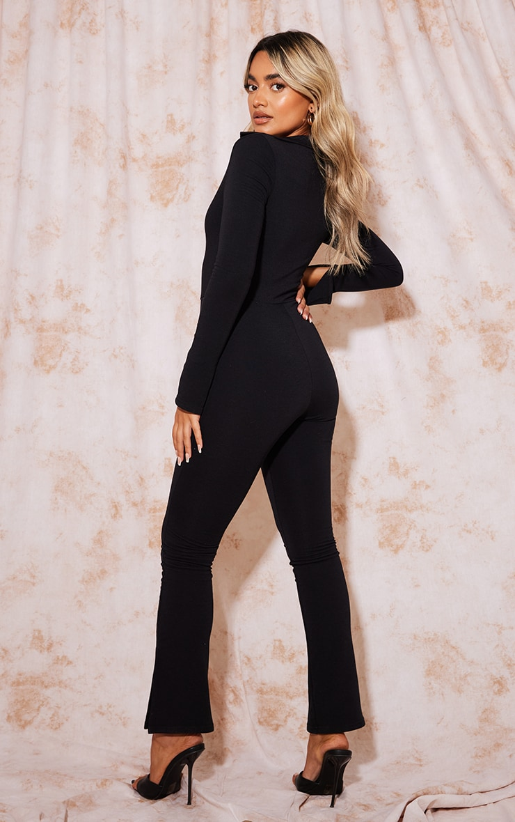 Recycled Petite Black Contour Jersey Ruched Front Jumpsuit 2