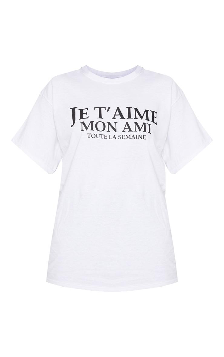 White Je Taime Slogan T Shirt 3