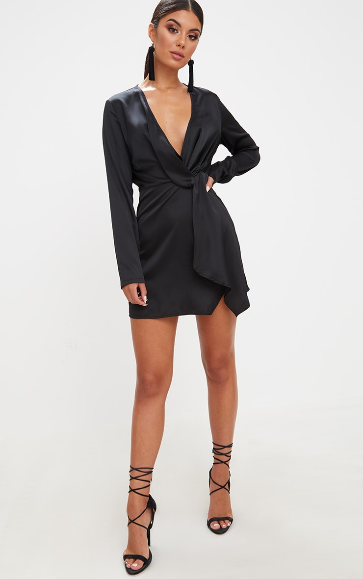 Black Satin Long Sleeve Wrap Dress 4