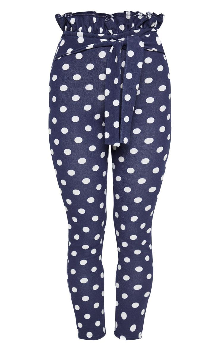 Navy Polka Dot Paperbag Skinny Trousers 3