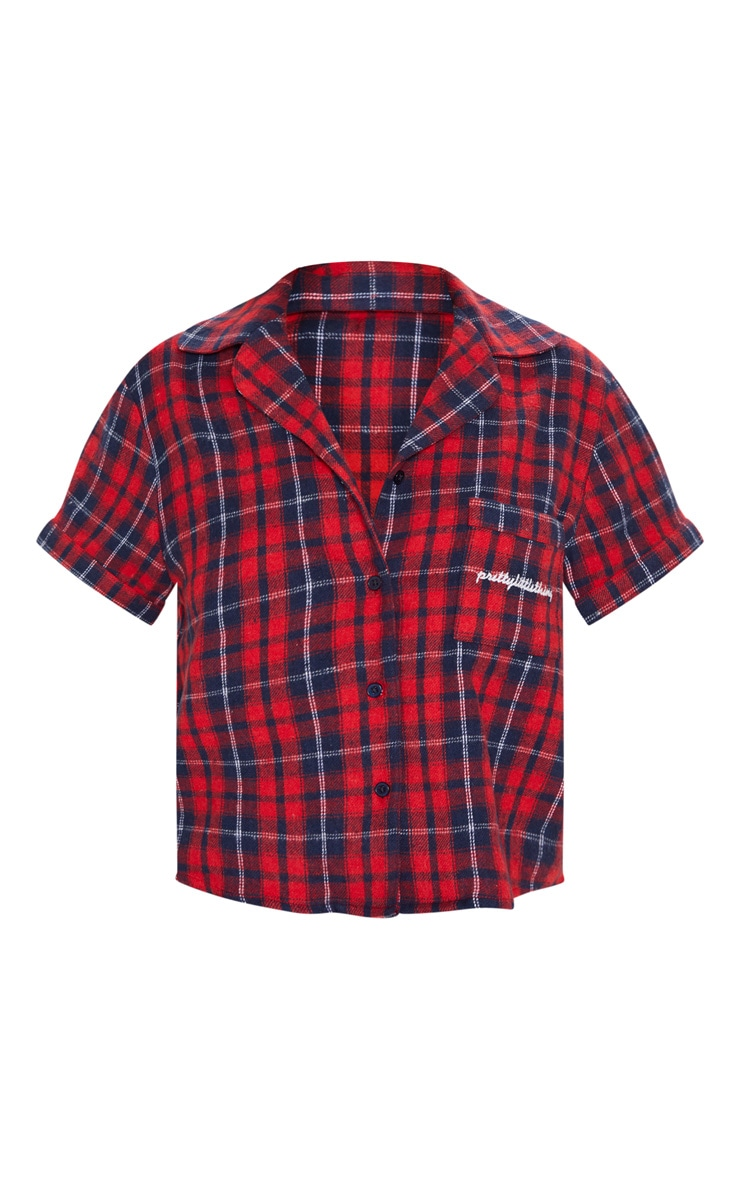 PRETTYLITTLETHING Red Check Short Sleeve Flannel PJ Shirt 3
