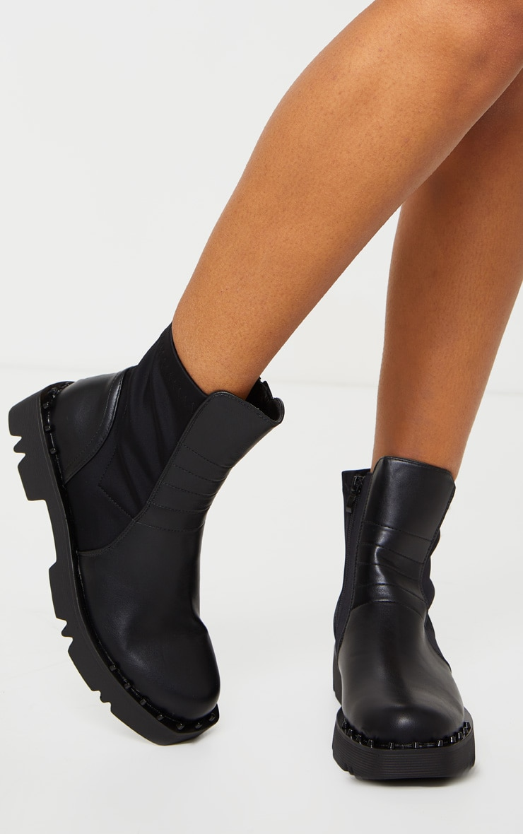 Black Chunky Sole Studded Chelsea Boots 3