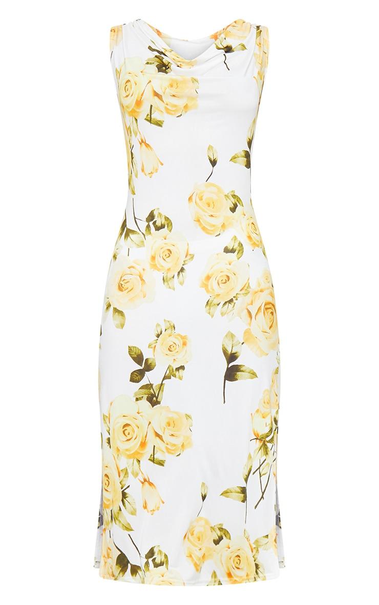 White Floral Cowl Neck Slip Midi Dress 5