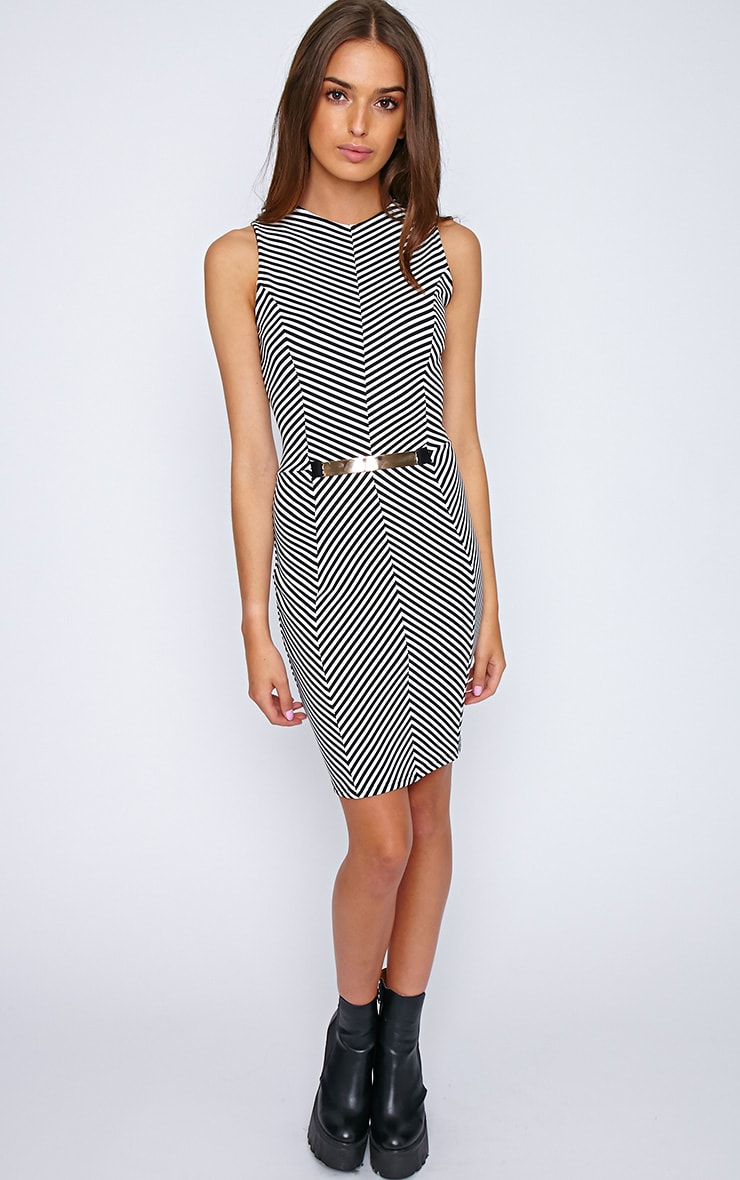 Sabine Monochrome Chevron Dress 1