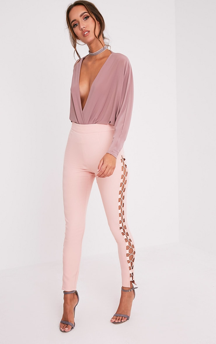 Anetta Dusty Pink Lace Up Side Skinny Trousers 1