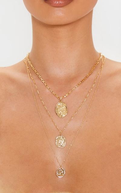 Gold Multi Chain Penny Pendant Necklace