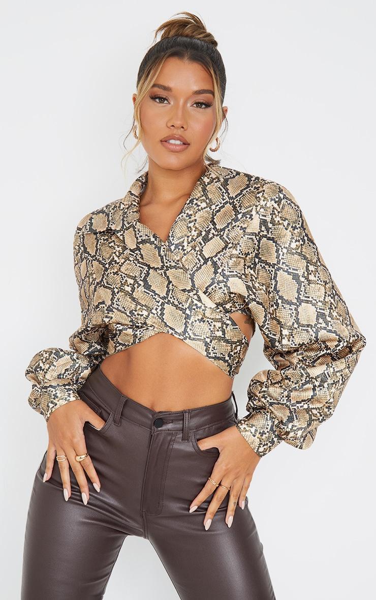 Brown  Snake Print Satin Balloon Sleeve Tie Front Shirt 1