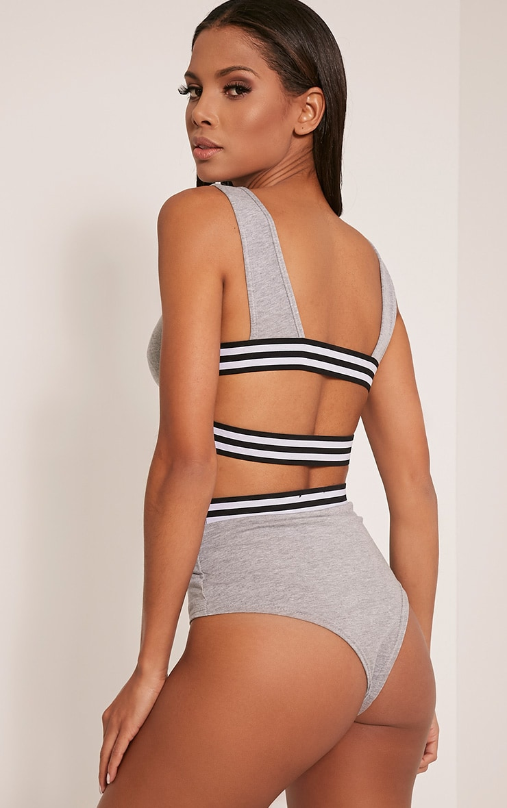Hannie Grey Sports Trim Crop Top 1