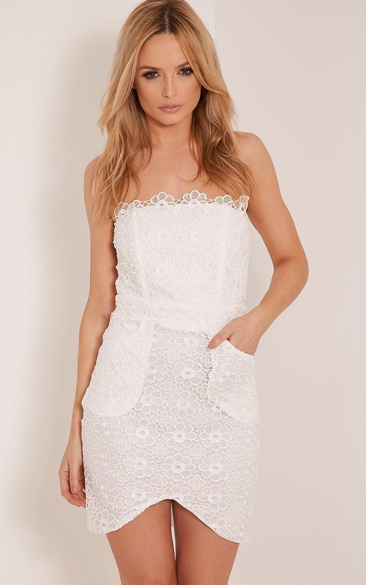 Leora White Bandeau Lace Mini Dress 1