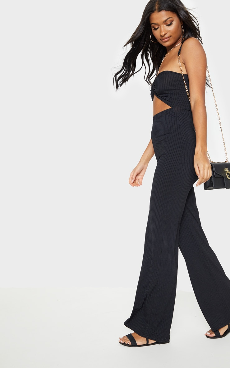 Black Ring Detail Bandeau Jumpsuit 4