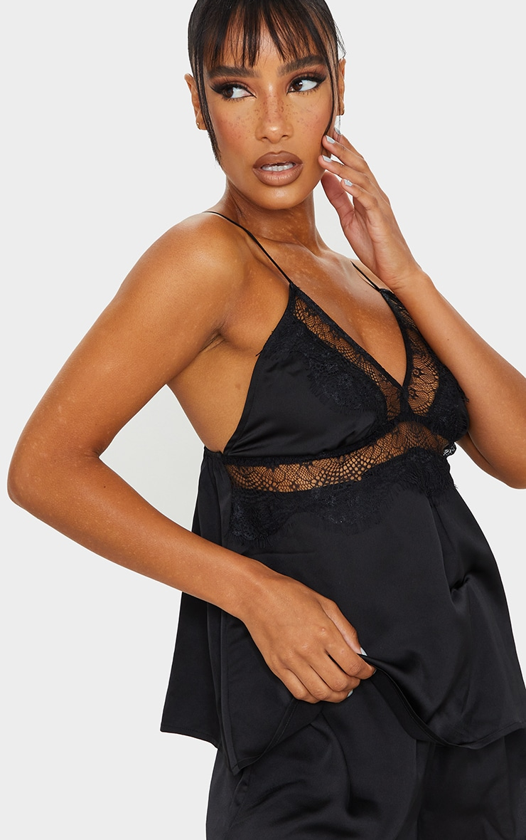 Black Lace Bust Detail Satin Cami And Short Set 4