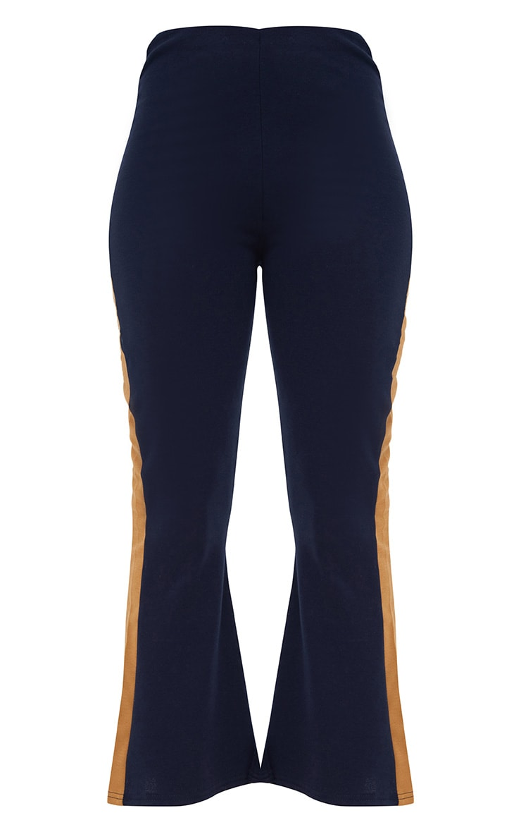 Navy Track Stripe Kick Flare Trousers 3