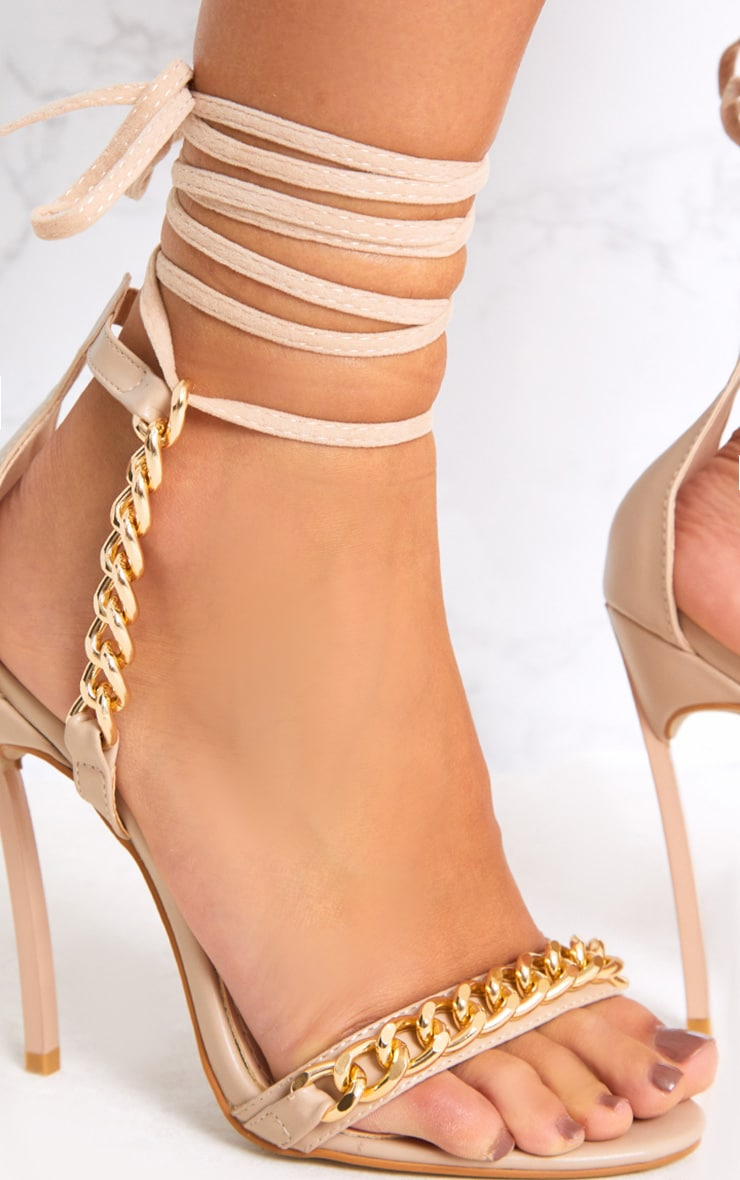 Nude Strappy Chain Stiletto Heels 5