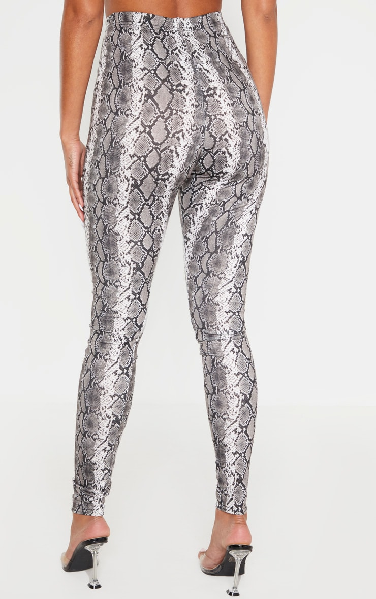 Grey Snake Print Leggings 4