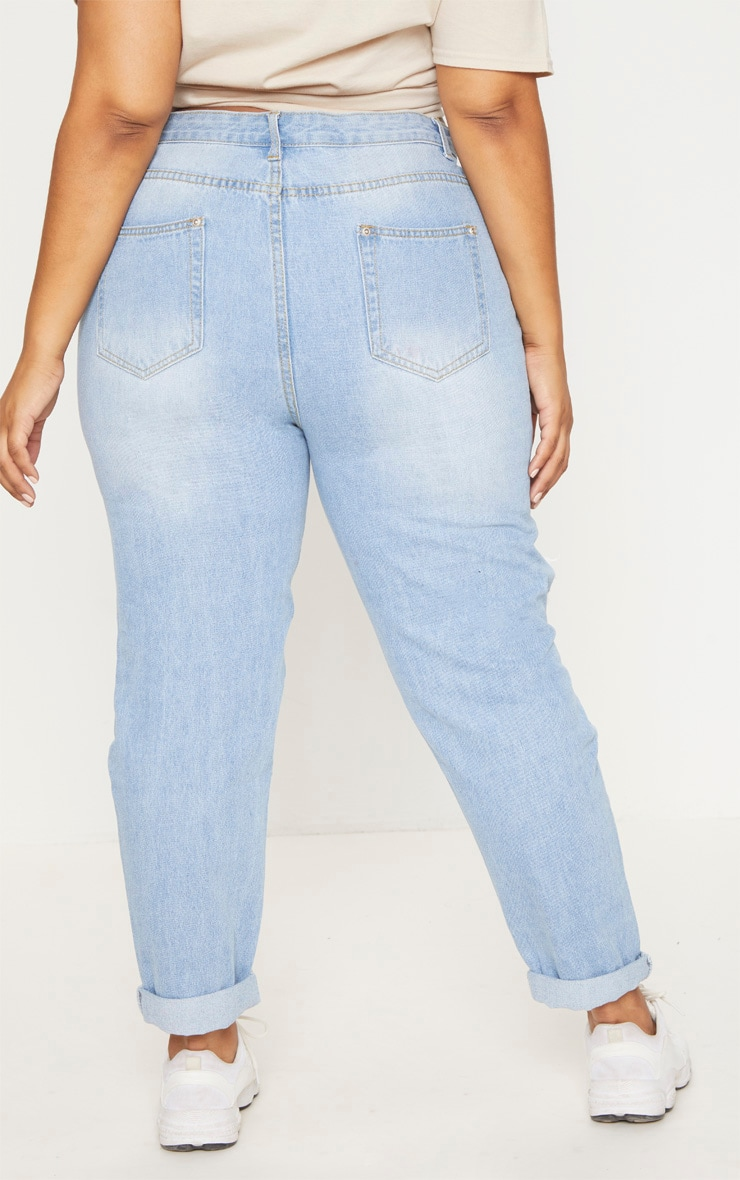 Plus Light Wash Extreme Rip Mom Jeans 4
