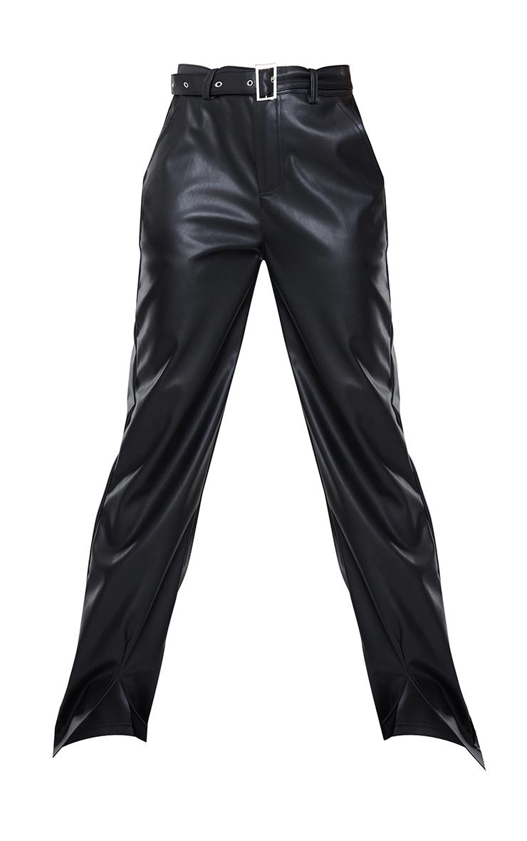 Black Faux Leather Belted Split Hem Straight Leg Trousers 4