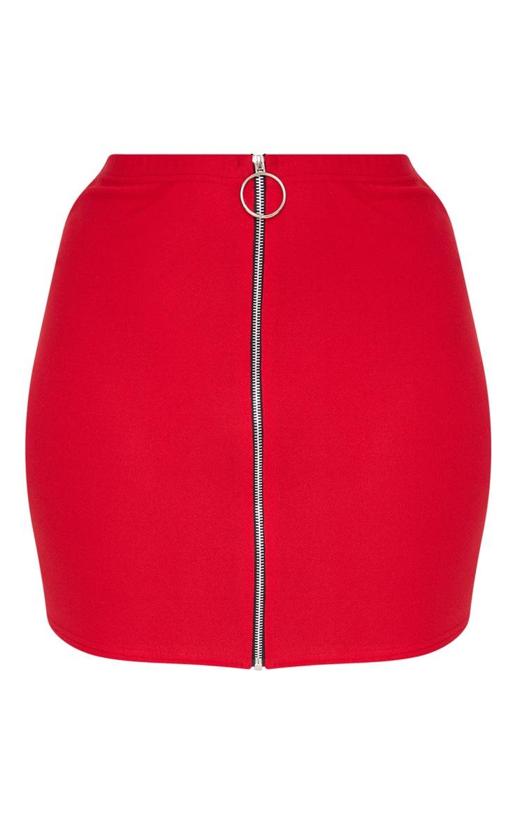 Plus Red Ring Pull Detail Mini Skirt 3