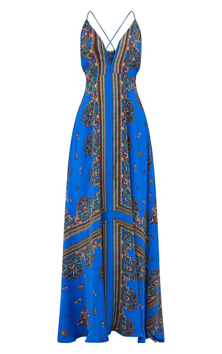 Cobalt Print Extreme Split Strappy Back Maxi Dress 3
