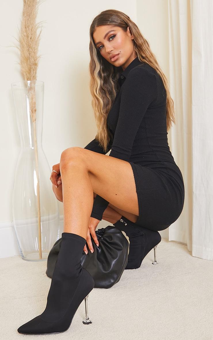 Black Rib Long Sleeve Ruched Shirt Dress 3