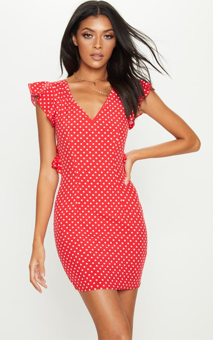 Red Polka Dot Frill Lace Up Back Bodycon Dress 1