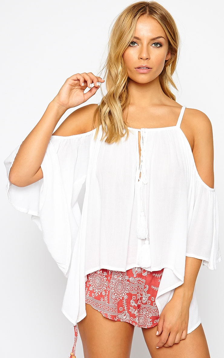Helena White Cold Shoulder Top 1