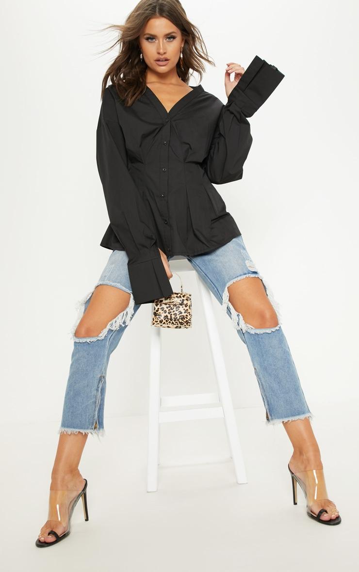 Black Ruched Waist Oversized Shirt 1
