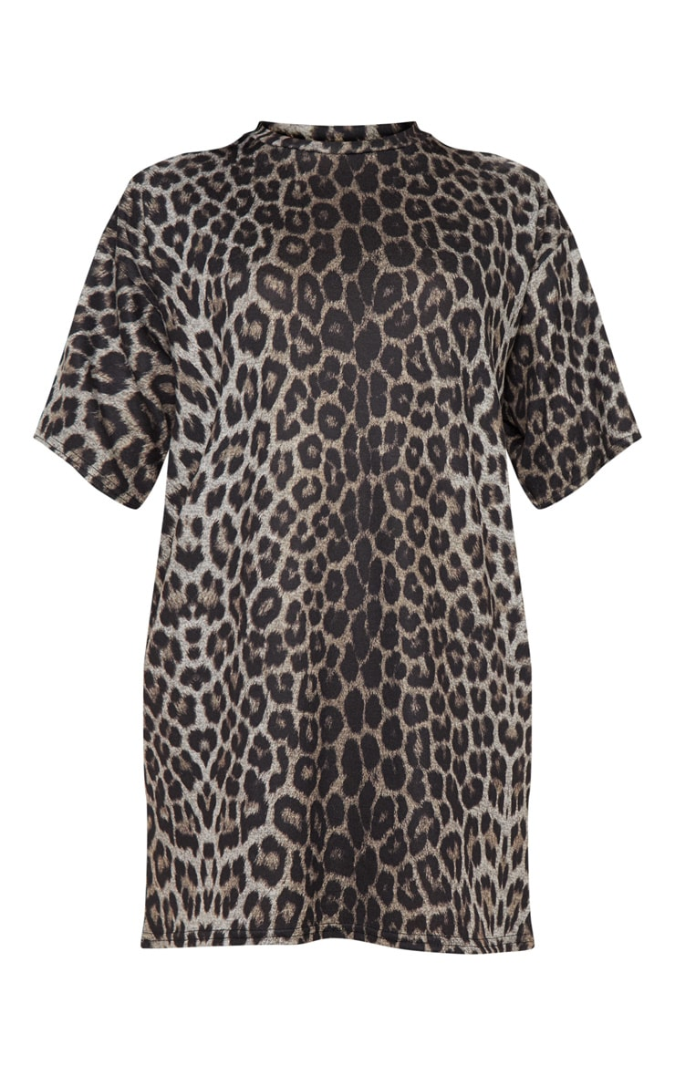 Leopard Print Oversized T Shirt Dress 3
