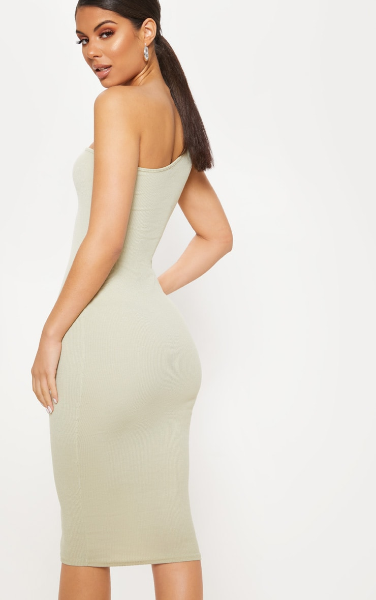 Sage Green Ribbed One Shoulder Midi Dress 2