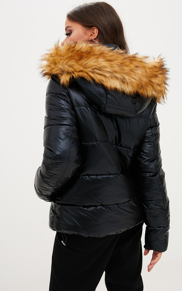 Black Foil Puffer Jacket With Faux Fur Hood 2