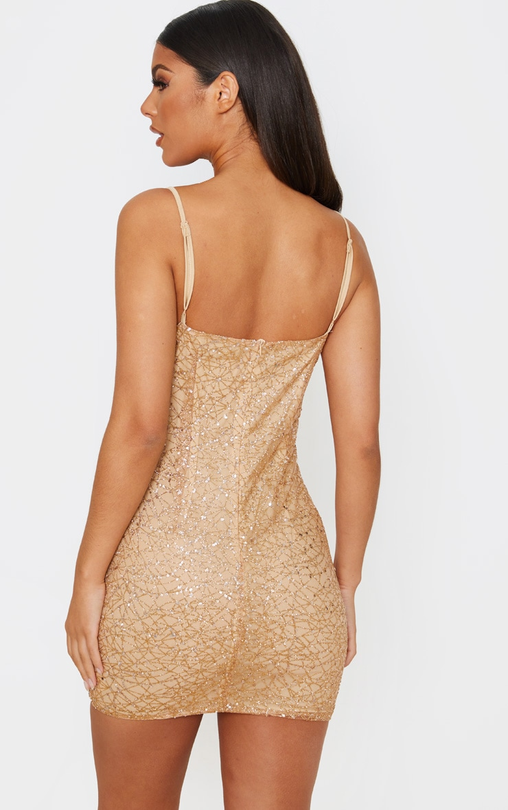 Rose Gold Strappy Sequin Glitter Detail Bodycon Dress 2