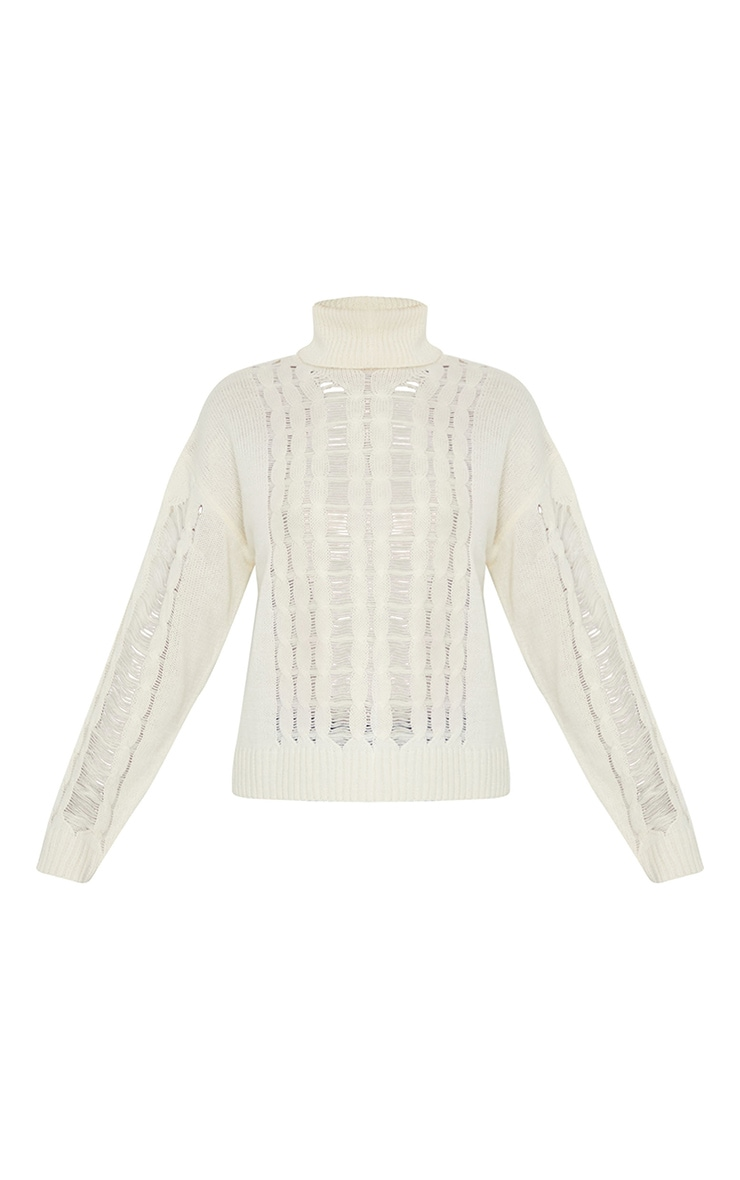 Cream Distressed Roll Neck Knitted Sweater 5